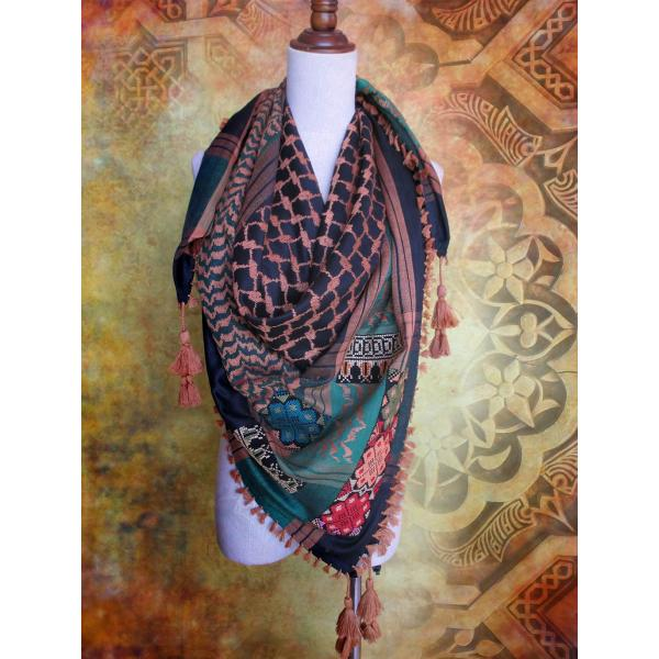 Keffiyeh scarf with Palestinian embroidery