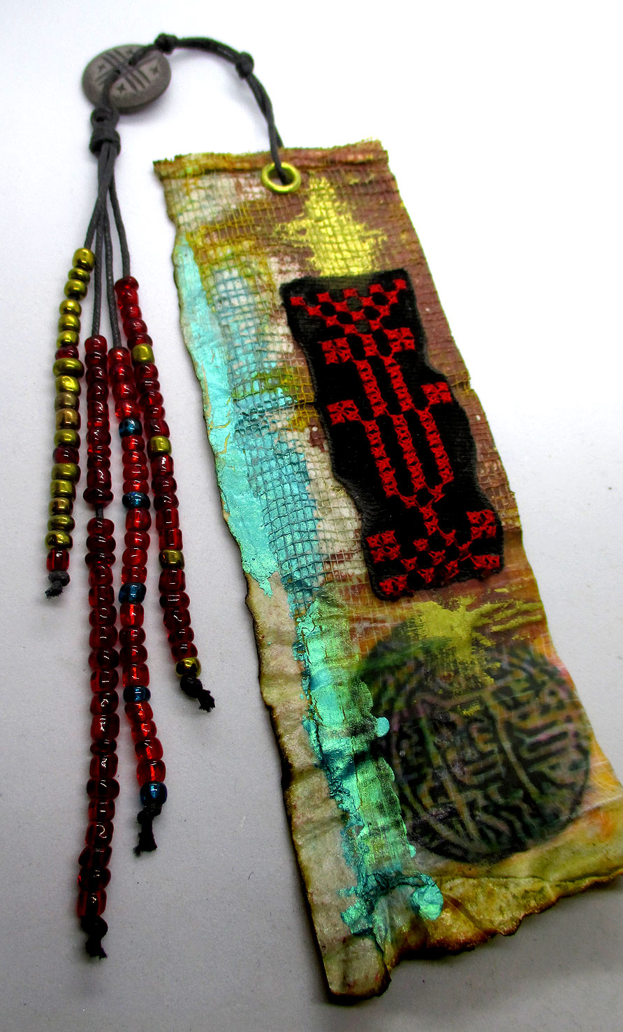 Bookmark ... paper collage with Palestinian embroidery